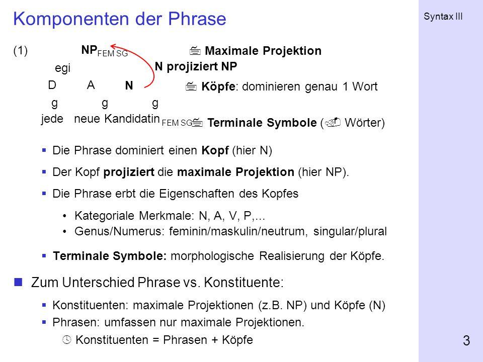 Komponenten der Phrase