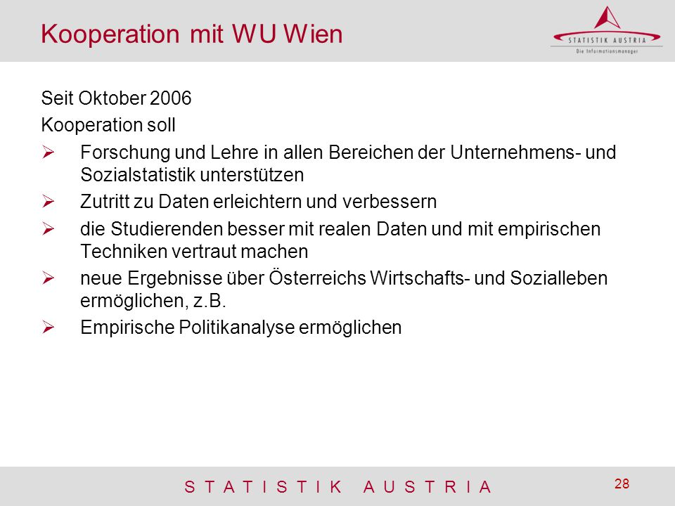 Kooperation mit WU Wien