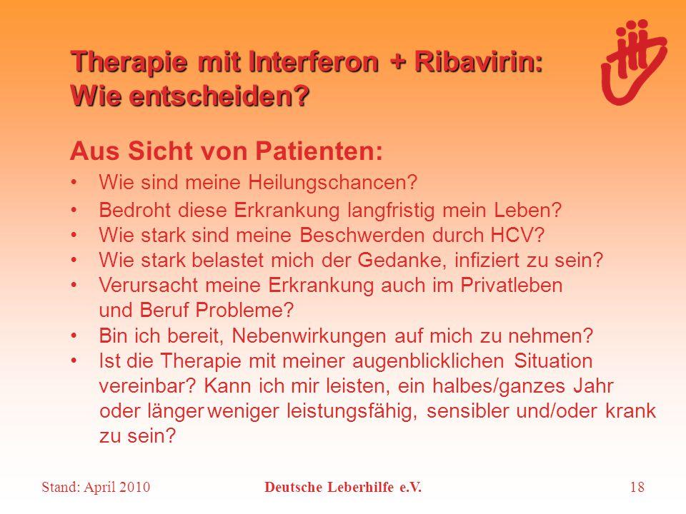 Therapie mit Interferon + Ribavirin: Wie entscheiden