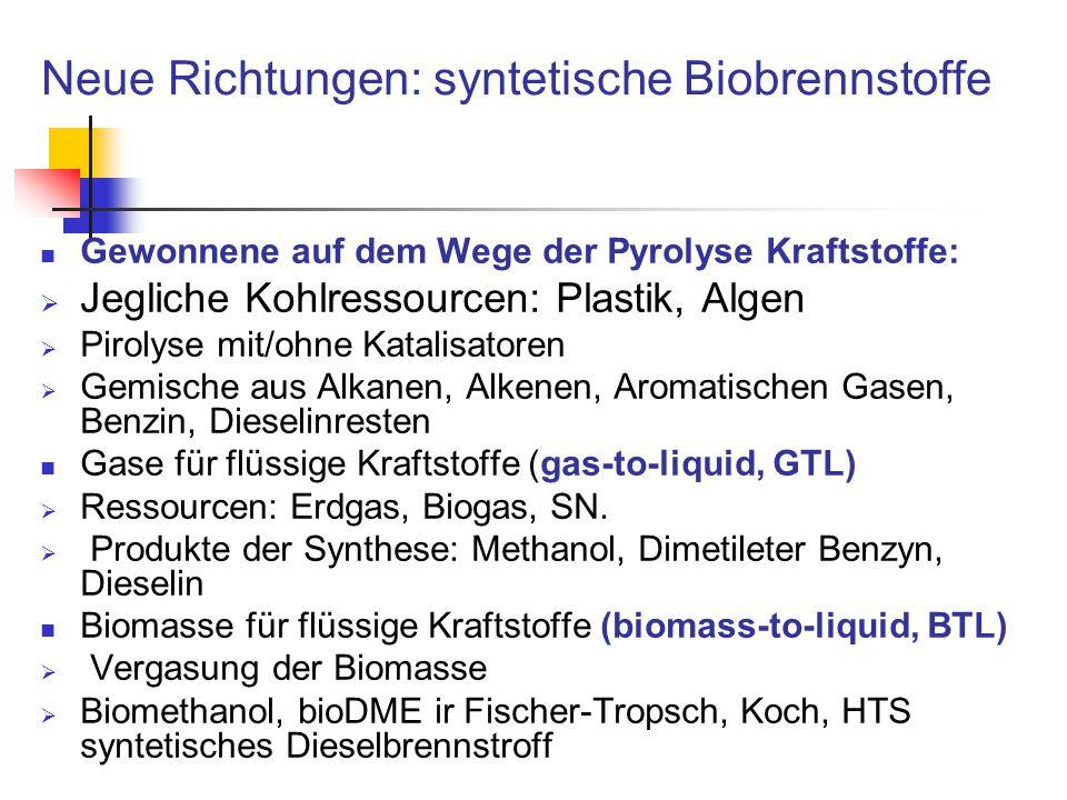 Neue Richtungen: syntetische Biobrennstoffe