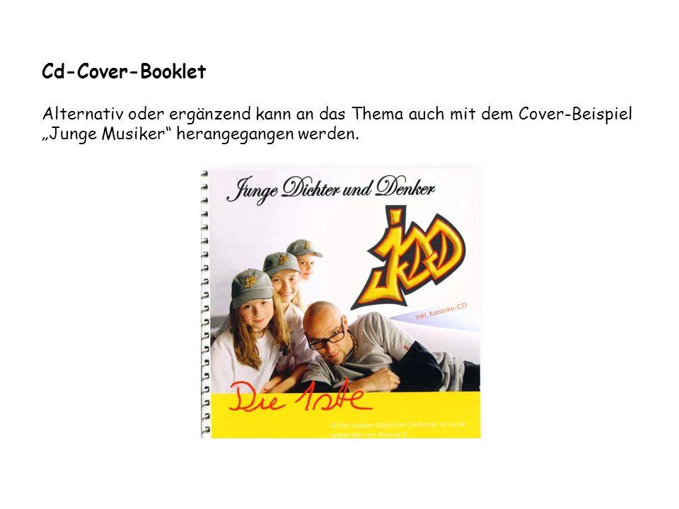 """Cd-Cover-Booklet Alternativ oder ergänzend kann an das Thema auch mit dem Cover-Beispiel """"Junge Musiker herangegangen werden."""