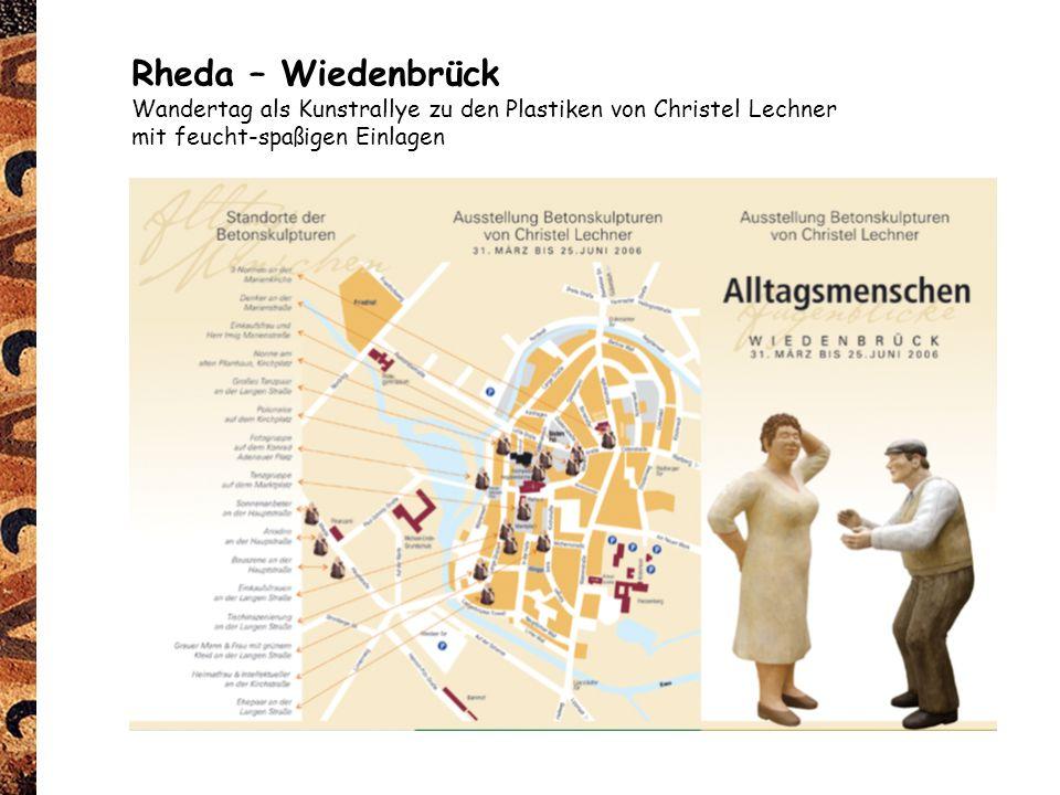 Rheda – Wiedenbrück Wandertag als Kunstrallye zu den Plastiken von Christel Lechner.
