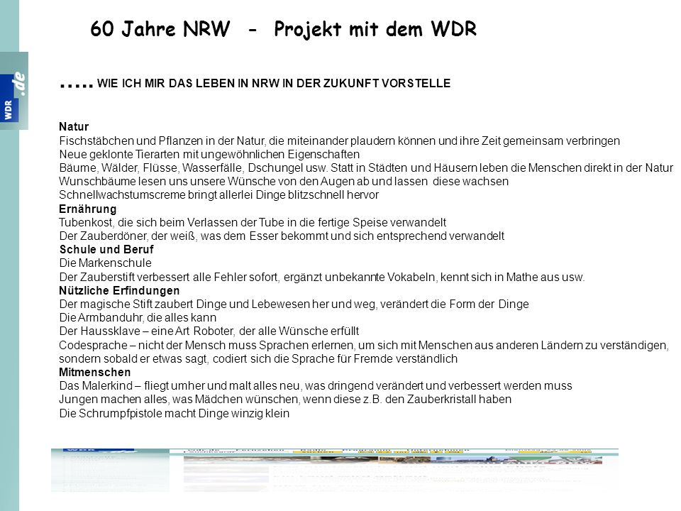 ….. WIE ICH MIR DAS LEBEN IN NRW IN DER ZUKUNFT VORSTELLE
