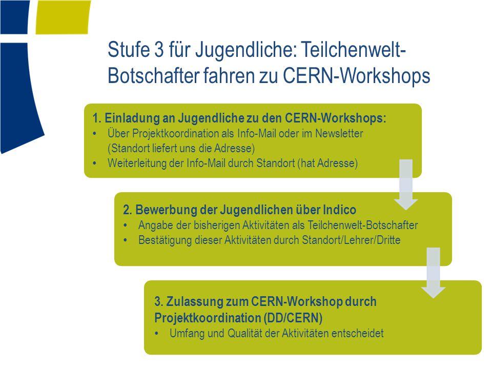 Stufe 3 für Jugendliche: Teilchenwelt-Botschafter fahren zu CERN-Workshops