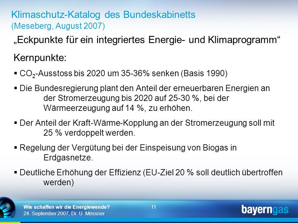Klimaschutz-Katalog des Bundeskabinetts (Meseberg, August 2007)