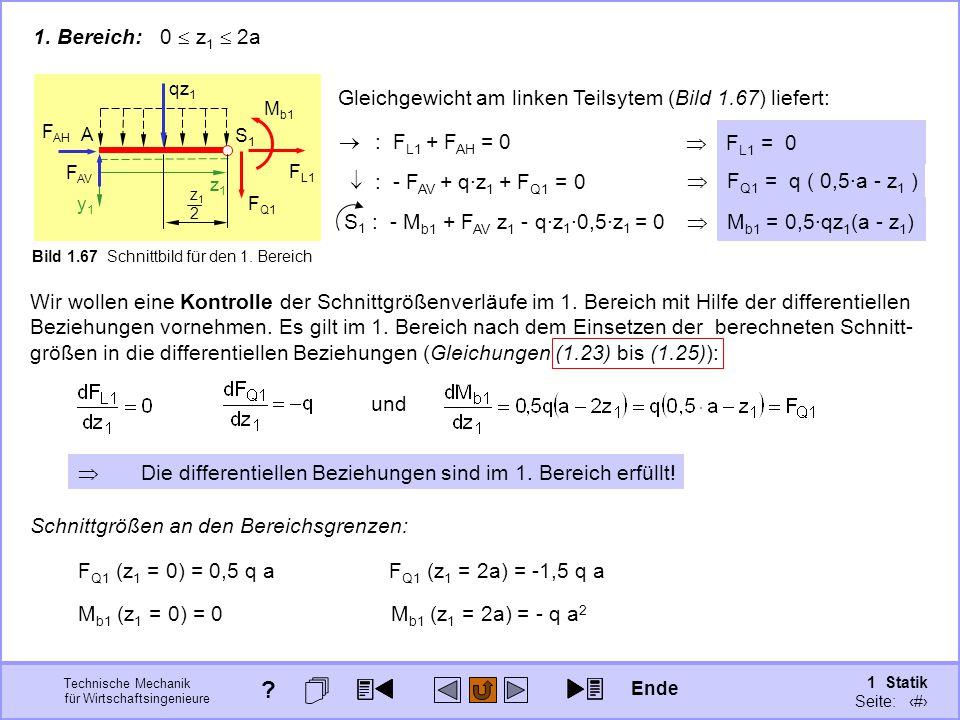 1. Bereich: 0  z1  2a A. z1. y1. FAH. FAV. S1. Bild 1.67 Schnittbild für den 1. Bereich.