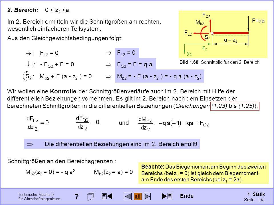 2. Bereich: 0  z2 a F=qa. S2. z2. y2. a – z2. Bild 1.68 Schnittbild für den 2. Bereich. FL2.