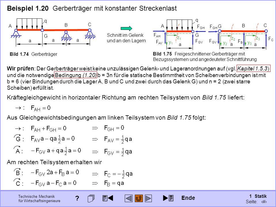 Beispiel 1.20 Gerberträger mit konstanter Streckenlast