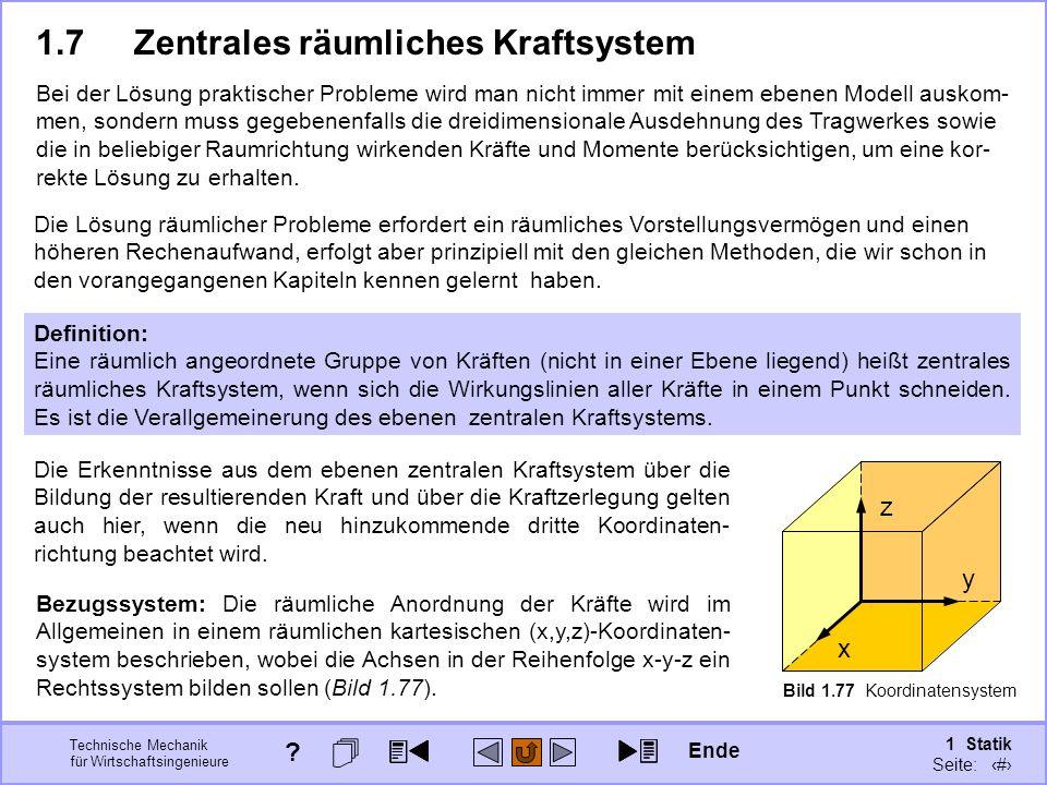 1.7 Zentrales räumliches Kraftsystem