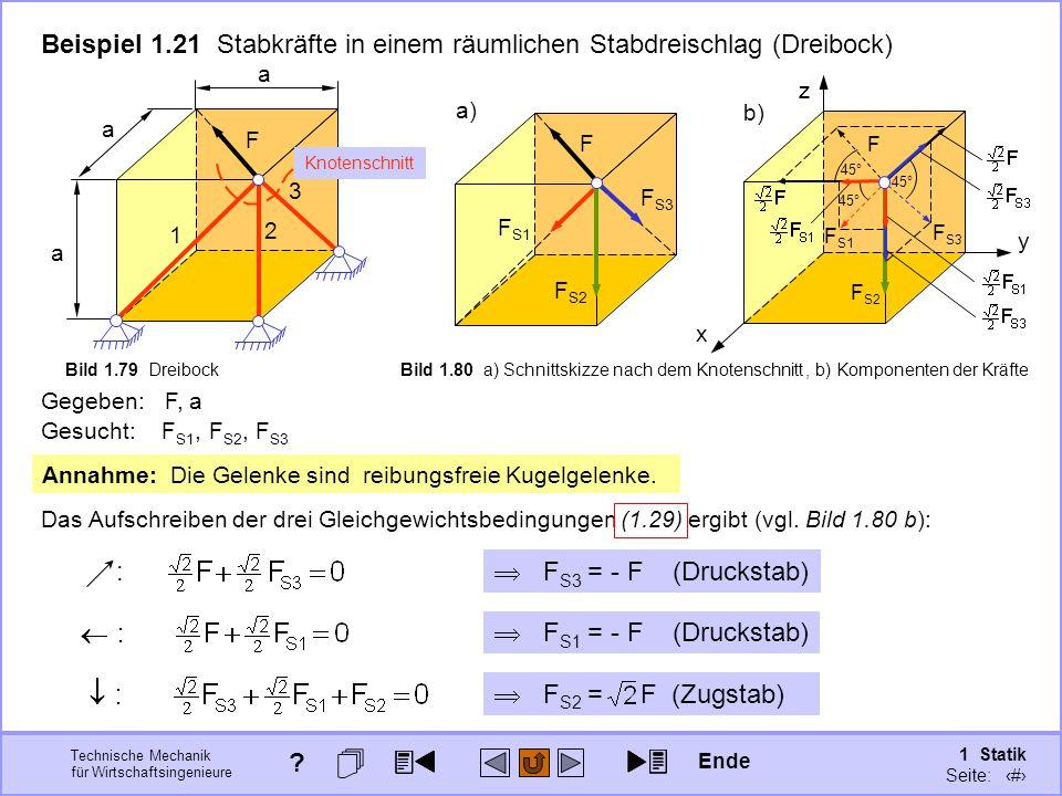 Beispiel 1.21 Stabkräfte in einem räumlichen Stabdreischlag (Dreibock)