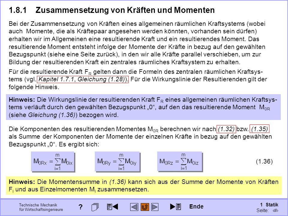 1.8.1 Zusammensetzung von Kräften und Momenten