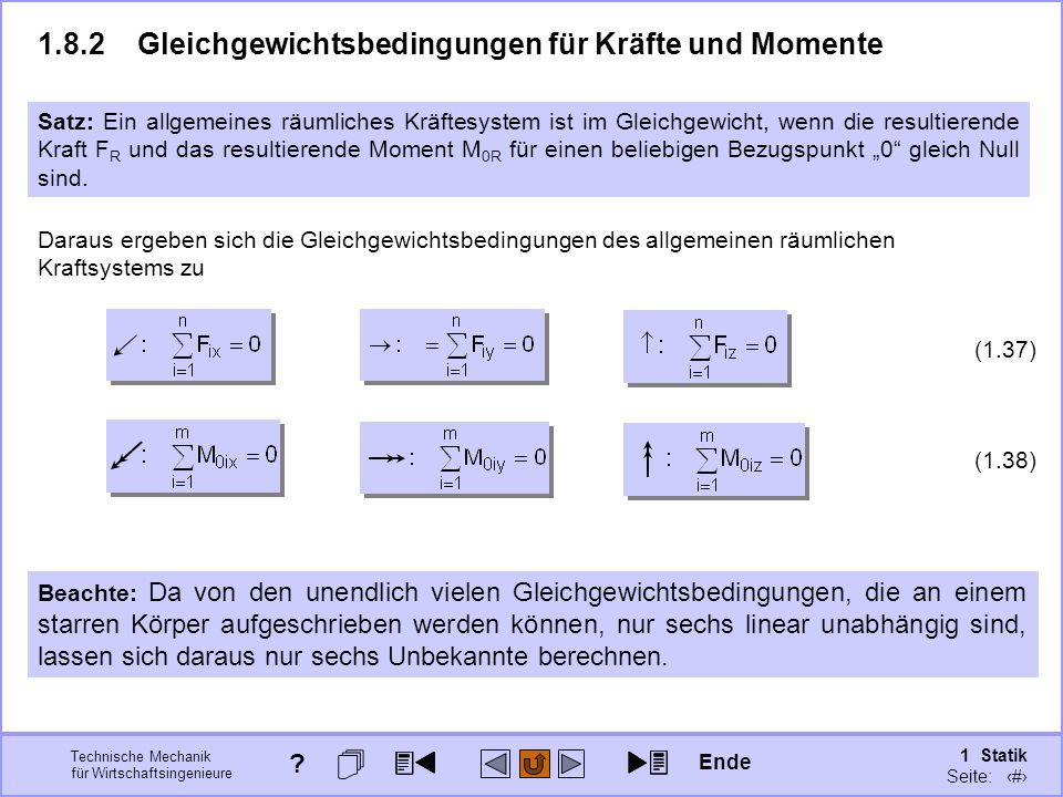 1.8.2 Gleichgewichtsbedingungen für Kräfte und Momente
