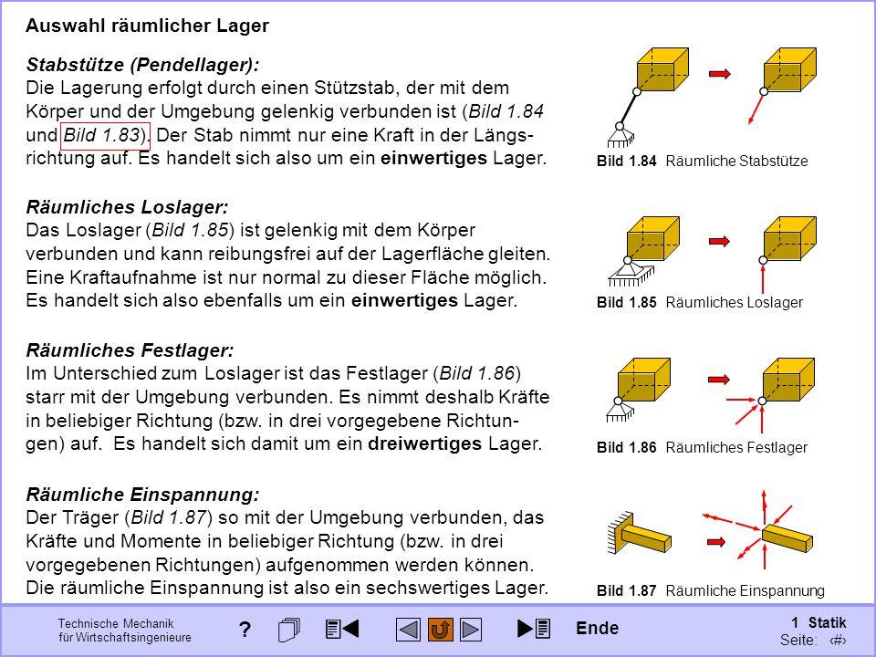 Auswahl räumlicher Lager Stabstütze (Pendellager):