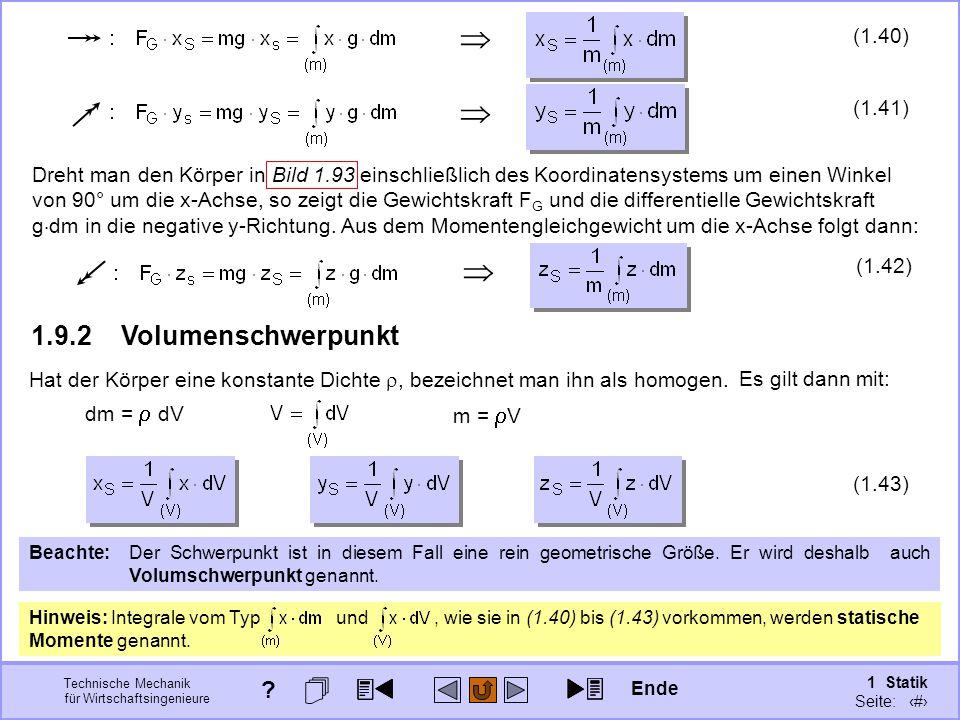    1.9.2 Volumenschwerpunkt (1.40) (1.41)