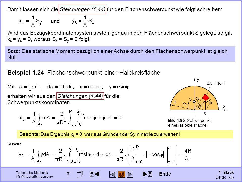 Beispiel 1.24 Flächenschwerpunkt einer Halbkreisfläche