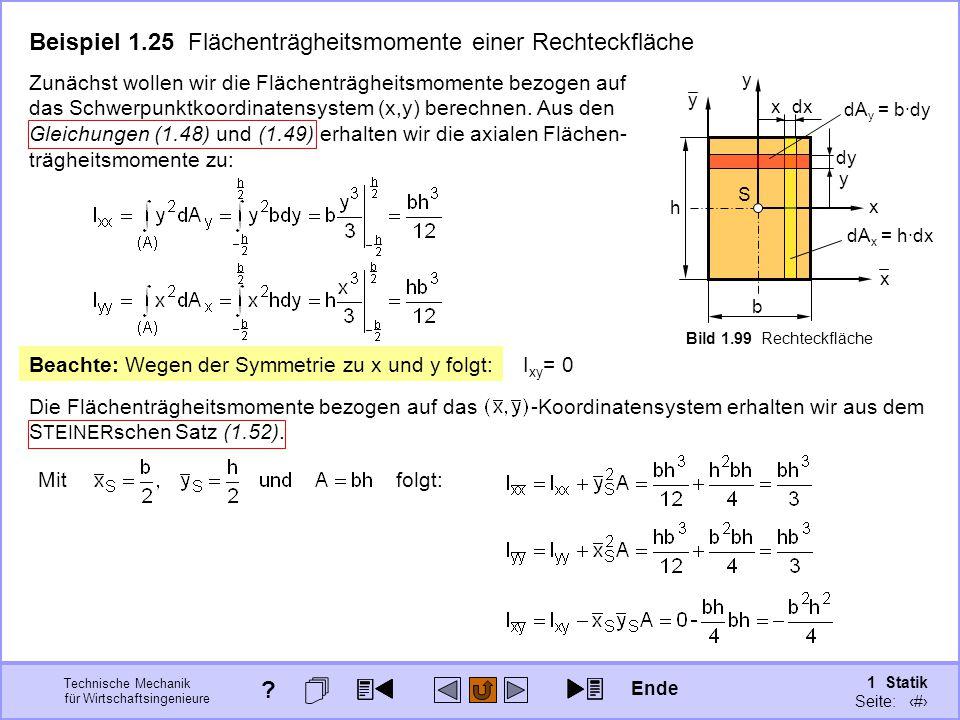 Beispiel 1.25 Flächenträgheitsmomente einer Rechteckfläche