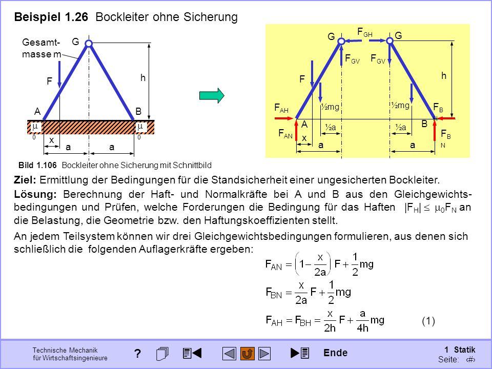 Beispiel 1.26 Bockleiter ohne Sicherung