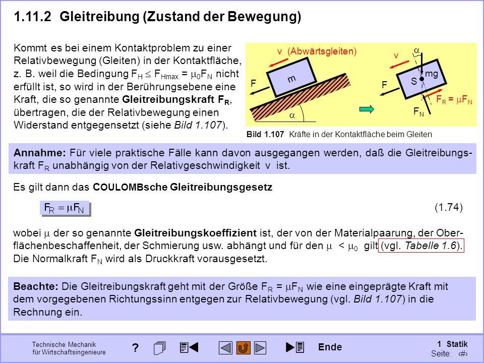 1.11.2 Gleitreibung (Zustand der Bewegung)