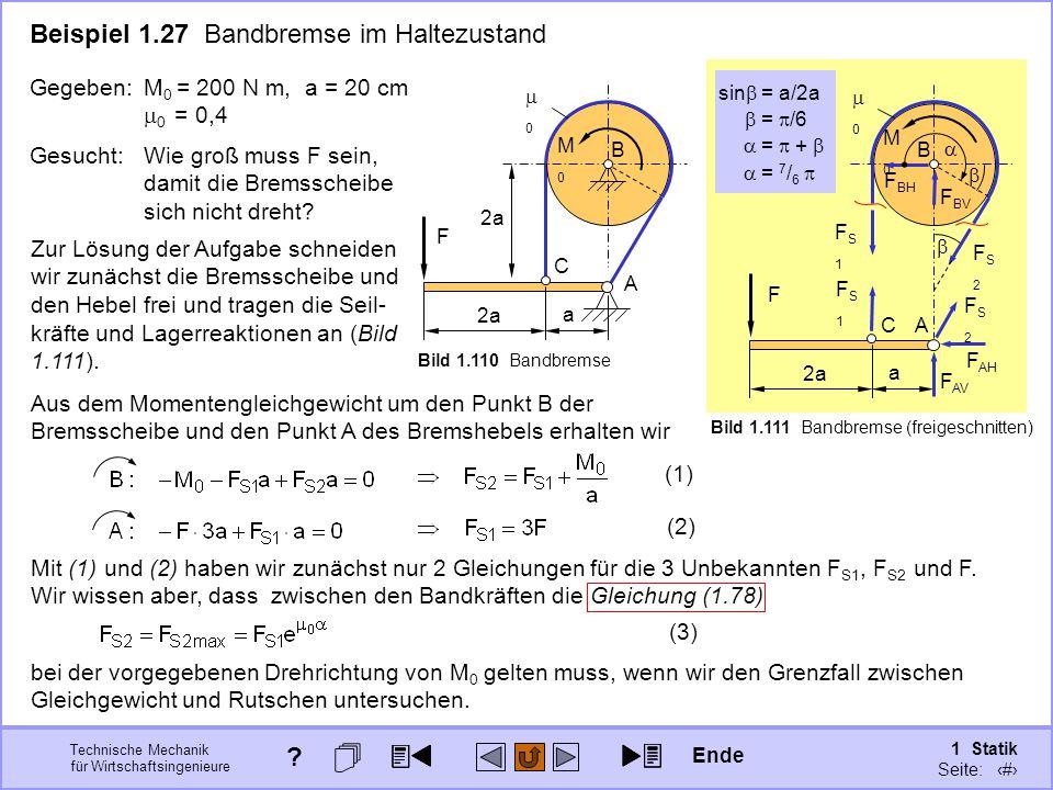 Beispiel 1.27 Bandbremse im Haltezustand