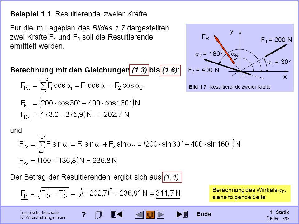 Beispiel 1.1 Resultierende zweier Kräfte