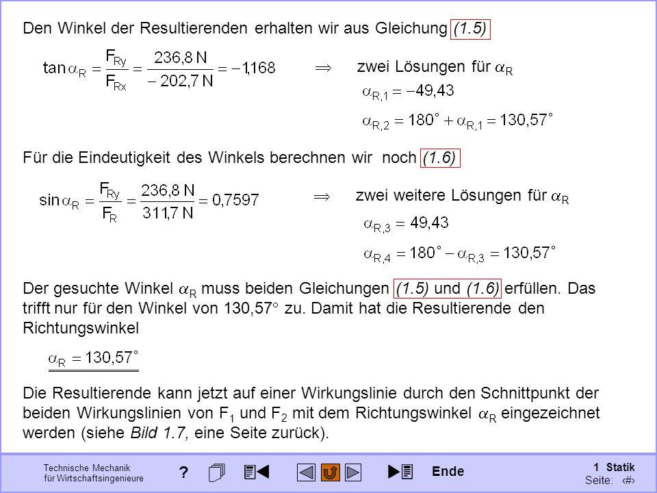 Den Winkel der Resultierenden erhalten wir aus Gleichung (1.5)