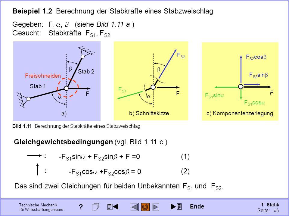 Beispiel 1.2 Berechnung der Stabkräfte eines Stabzweischlag