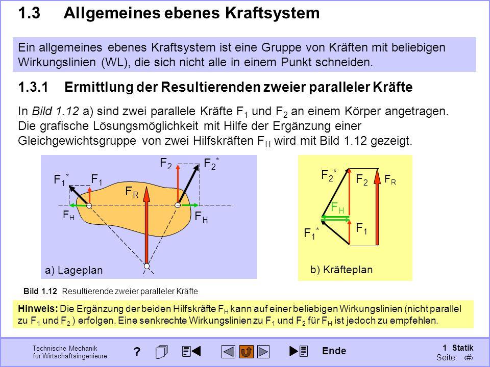 1.3 Allgemeines ebenes Kraftsystem