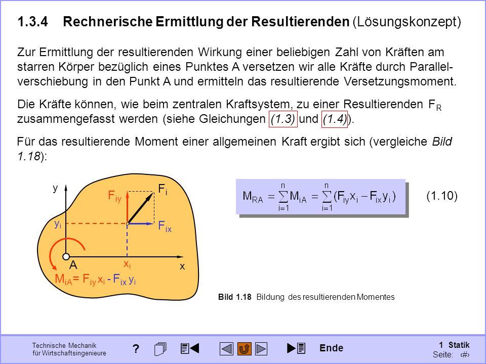 1.3.4 Rechnerische Ermittlung der Resultierenden (Lösungskonzept)