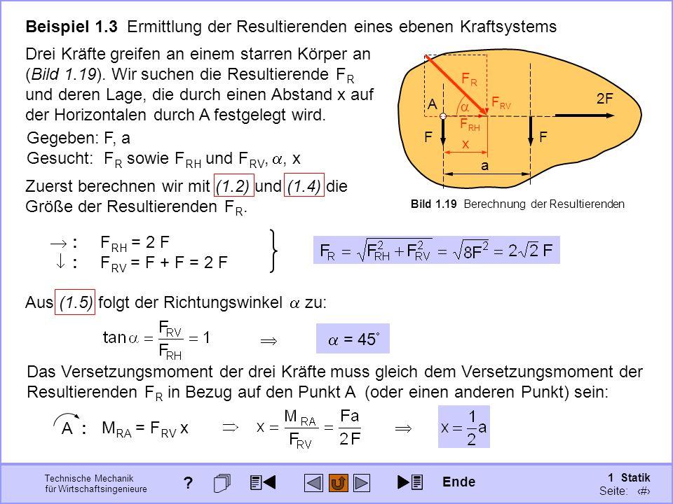 Beispiel 1.3 Ermittlung der Resultierenden eines ebenen Kraftsystems