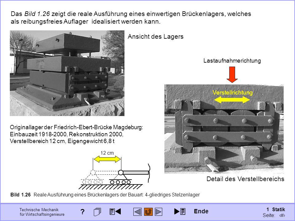 Das Bild 1.26 zeigt die reale Ausführung eines einwertigen Brückenlagers, welches als reibungsfreies Auflager idealisiert werden kann.