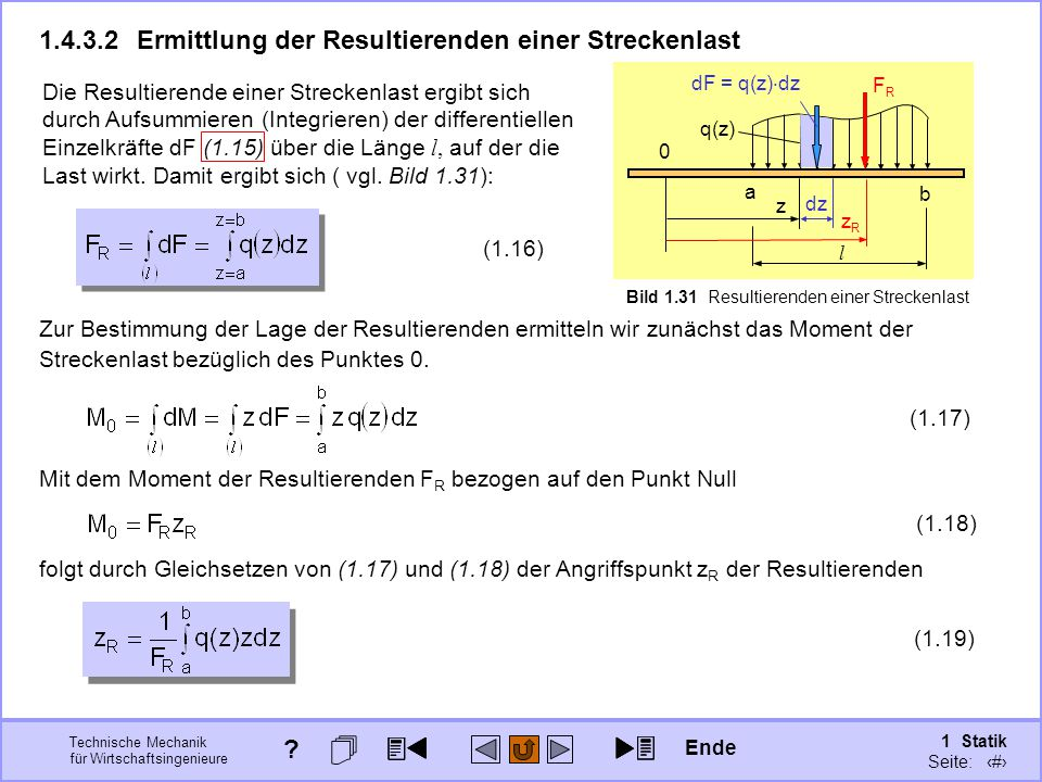 1.4.3.2 Ermittlung der Resultierenden einer Streckenlast