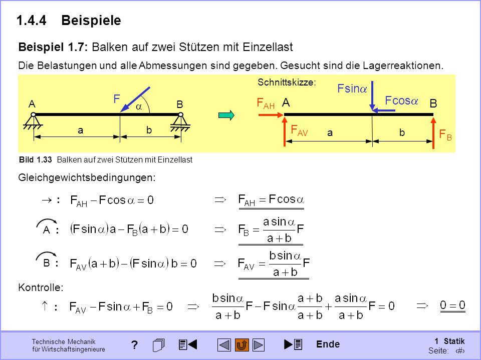 1.4.4 Beispiele Beispiel 1.7: Balken auf zwei Stützen mit Einzellast