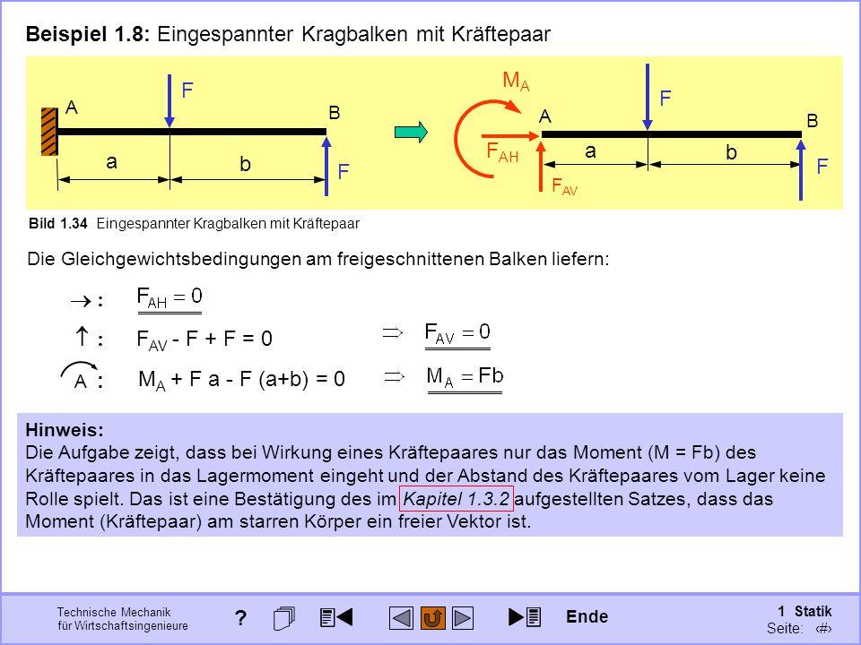 Beispiel 1.8: Eingespannter Kragbalken mit Kräftepaar