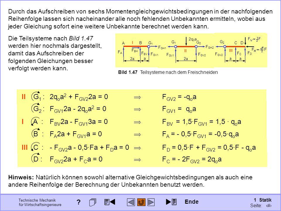 II G1 : 2qoa2 + FGV22a = 0  FGV2 = -qoa