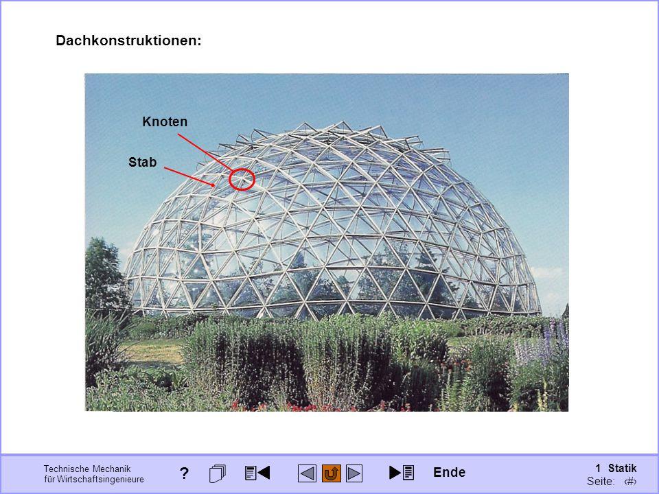 Dachkonstruktionen: Knoten Stab Ende