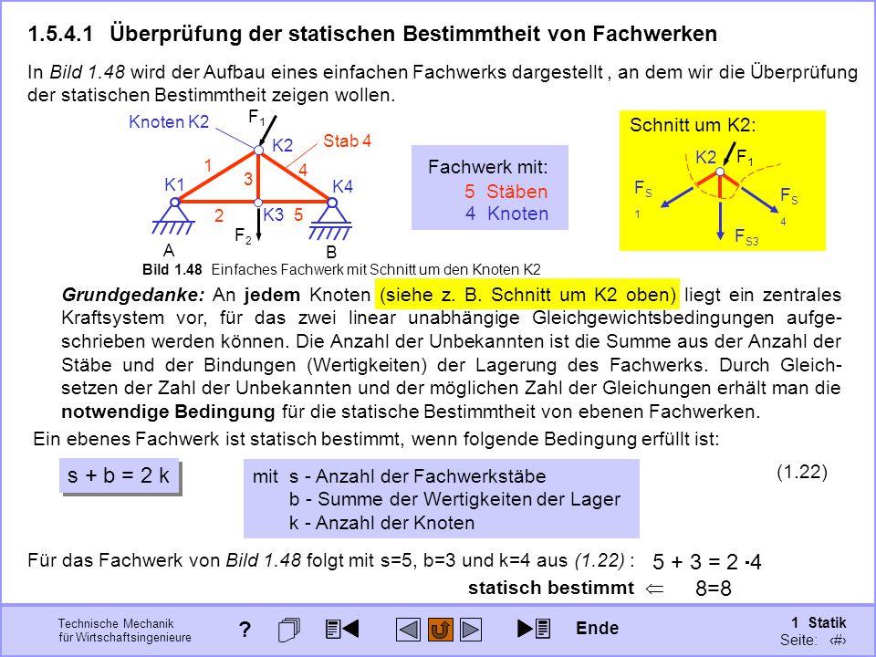 1.5.4.1 Überprüfung der statischen Bestimmtheit von Fachwerken