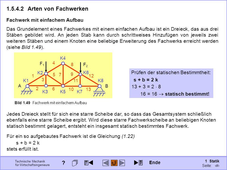 1.5.4.2 Arten von Fachwerken 13 + 3 = 2  8 s + b = 2 k