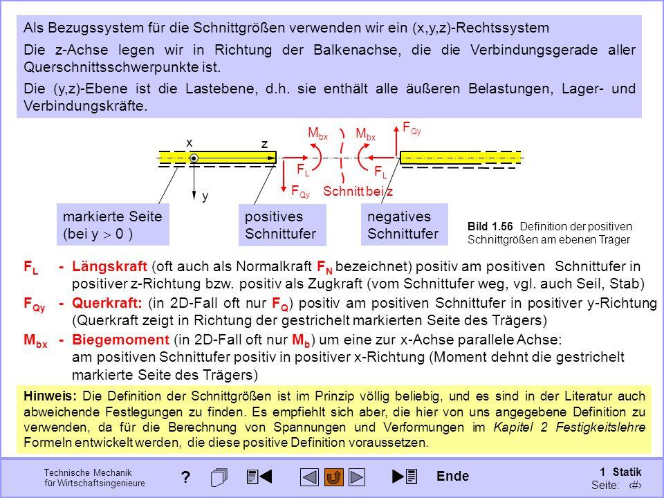 Als Bezugssystem für die Schnittgrößen verwenden wir ein (x,y,z)-Rechtssystem