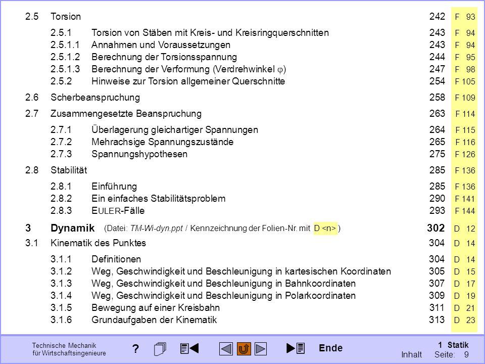 2.5 Torsion 242 F 93 (Datei: TM-Wi-dyn.ppt / Kennzeichnung der Folien-Nr. mit D <n> )