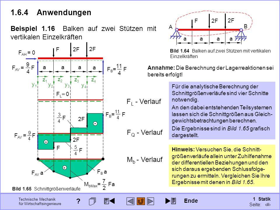 1.6.4 Anwendungen a. F. 2F. A. B. Beispiel 1.16 Balken auf zwei Stützen mit vertikalen Einzelkräften.