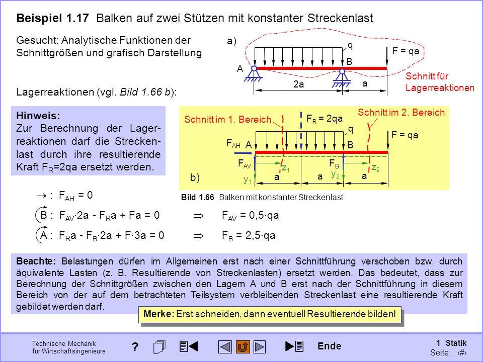 Beispiel 1.17 Balken auf zwei Stützen mit konstanter Streckenlast