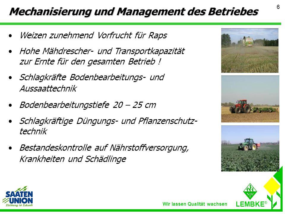 Mechanisierung und Management des Betriebes