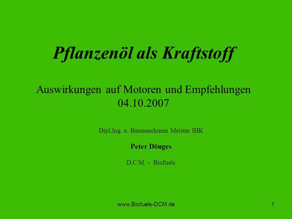 Dipl.Ing. u. Baumaschinen Meister IHK Peter Dönges D.C.M. - Biofuels