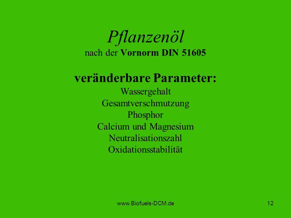 Pflanzenöl nach der Vornorm DIN 51605 veränderbare Parameter: Wassergehalt Gesamtverschmutzung Phosphor Calcium und Magnesium Neutralisationszahl Oxidationsstabilität