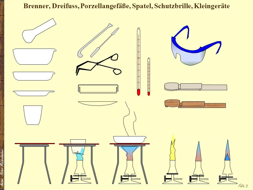 Brenner, Dreifuss, Porzellangefäße, Spatel, Schutzbrille, Kleingeräte