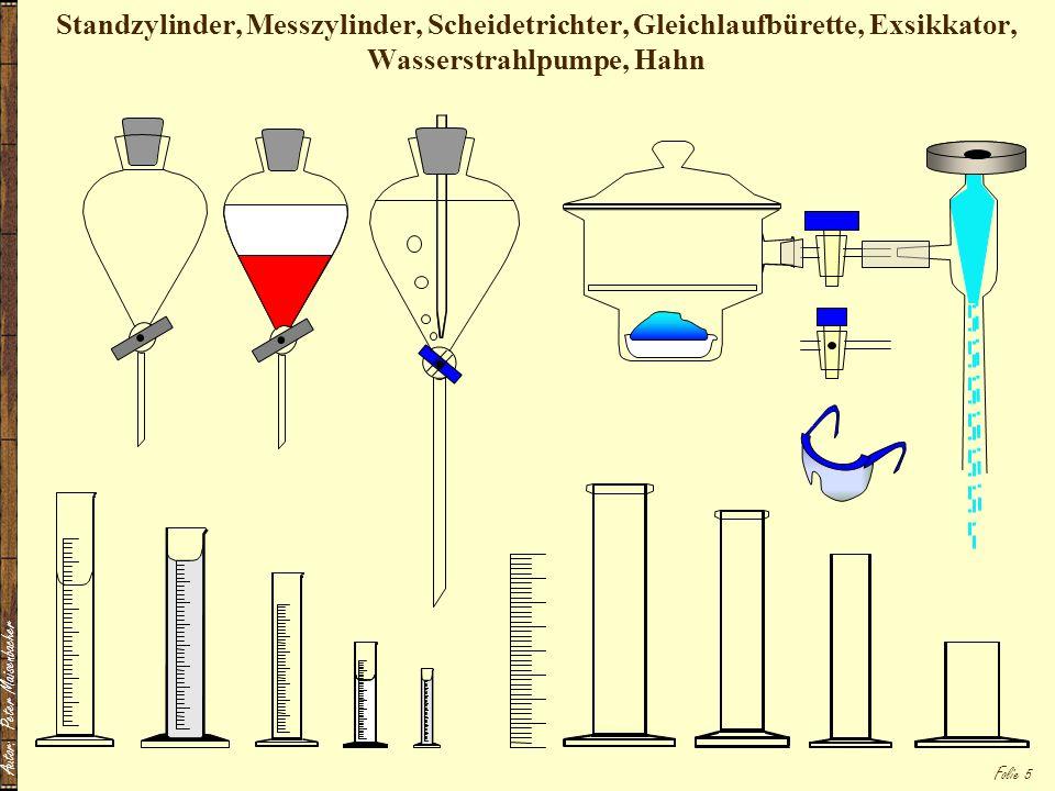 Standzylinder, Messzylinder, Scheidetrichter, Gleichlaufbürette, Exsikkator, Wasserstrahlpumpe, Hahn