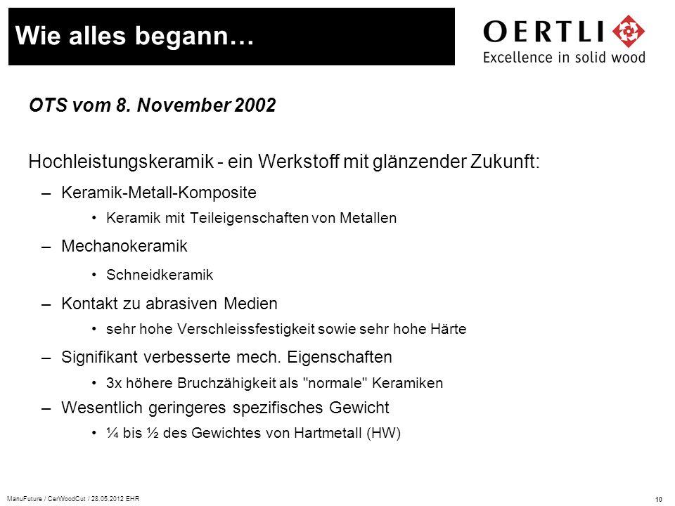 Wie alles begann… OTS vom 8. November 2002
