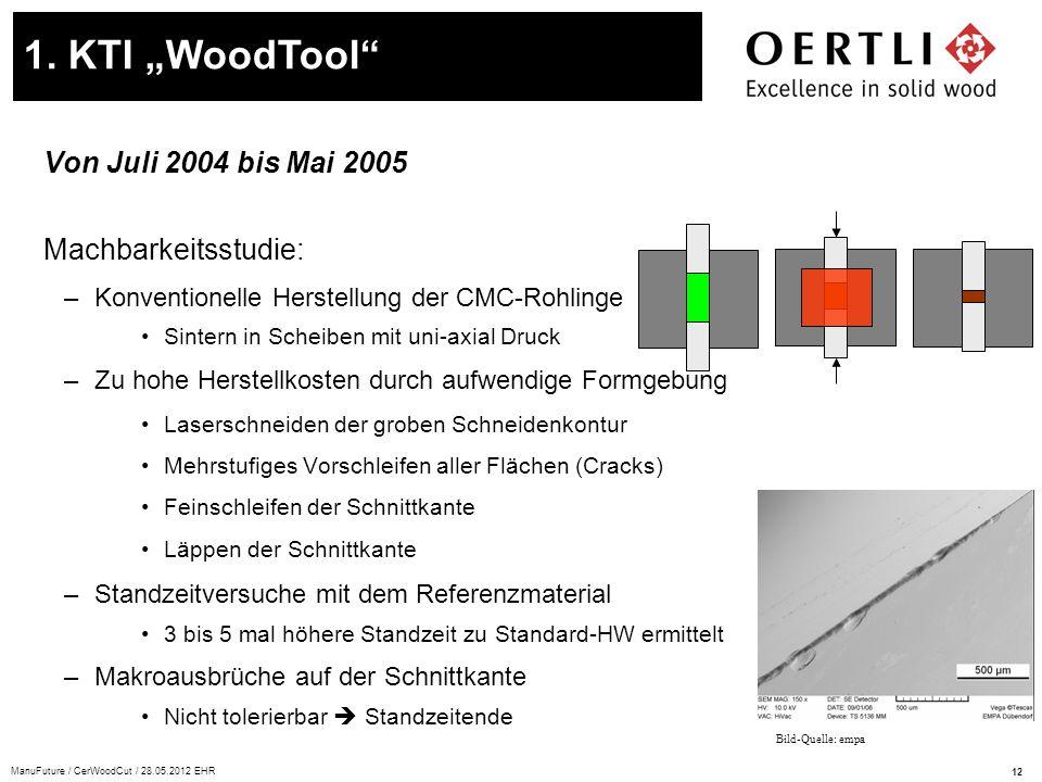 """1. KTI """"WoodTool Von Juli 2004 bis Mai 2005 Machbarkeitsstudie:"""