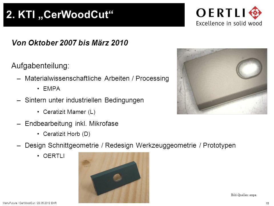 """2. KTI """"CerWoodCut Von Oktober 2007 bis März 2010 Aufgabenteilung:"""