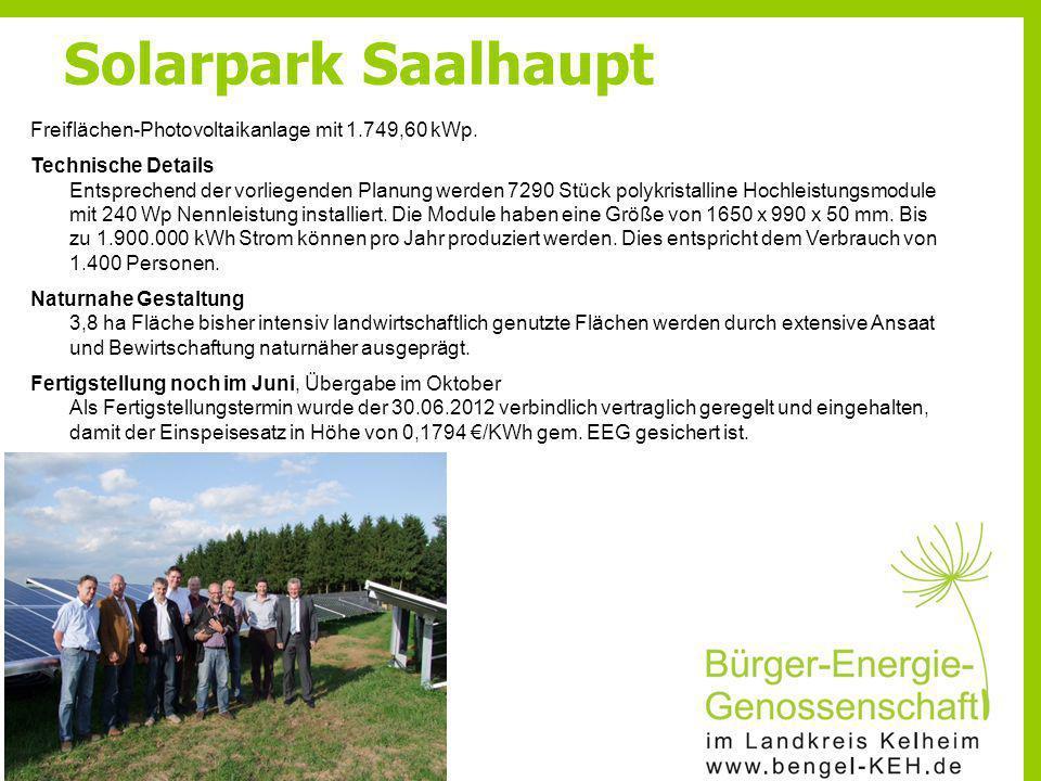 Solarpark Saalhaupt Freiflächen-Photovoltaikanlage mit 1.749,60 kWp.
